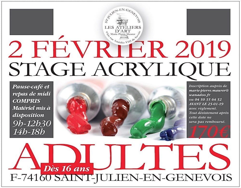 Stage Adulte Acrylique Fevrier 2019